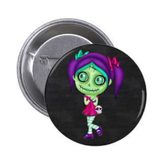 Adorable Zombie Girl 2 Inch Round Button