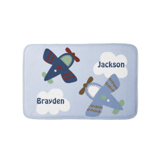 Adorable Zoom Zoom Airplanes Bath Mat