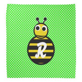 Adorables lindos manosean el monograma de la abeja bandanas