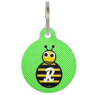 Adorables lindos manosean el monograma de la abeja placas para mascotas