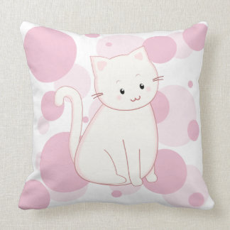 Adorably Cute Kawaii Style Kitty Cat in Pink Throw Pillow