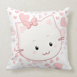 Adorably Cute Kawaii Style Kitty Cat with Hearts Pillows