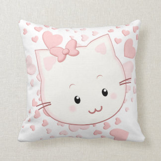 Adorably Cute Kawaii Style Kitty Cat with Hearts Throw Pillow