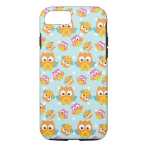 Adorably Cute Orange and Pink Owl Pattern iPhone 8/7 Case