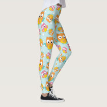 Adorably Cute Orange and Pink Owl Pattern Leggings