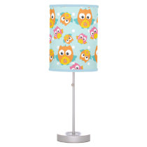 Adorably Cute Orange and Pink Owl Pattern Print Desk Lamp