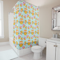 Adorably Cute Orange and Pink Owl Pattern Print Shower Curtain