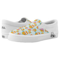 Adorably Cute Orange and Pink Owl Pattern Slip-On Sneakers