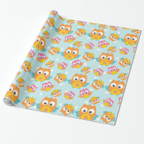 Adorably Cute Orange and Pink Owl Pattern Wrapping Paper