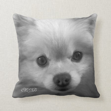 Adorably Cute Pomeranian Puppy Monogram Throw Pillow