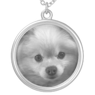 Adorably Cute Pomeranian Puppy Silver Plated Necklace