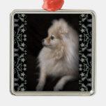 Adorably Cute Posing Pomeranian Puppy Square Metal Christmas Ornament