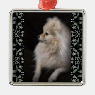 Adorably Cute Posing Pomeranian Puppy Christmas Tree Ornament