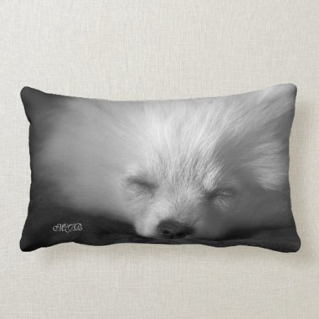 Adorably Cute Snoozing Pomeranian Monogram Lumbar Pillow