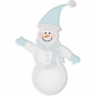 Adorably Cute Snowman Photo Sculpture Ornament