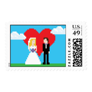 Adorably Nerdy 8-Bit Bride and Groom Postage Stamps