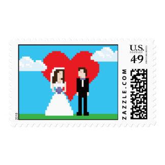 Adorably Nerdy 8-Bit Bride and Groom Postage Stamp