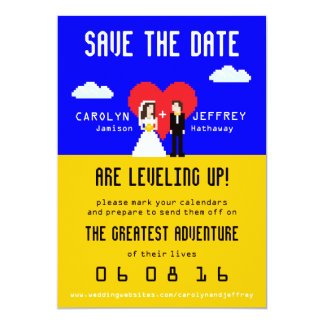 Adorably Nerdy 8-Bit Bride & Groom Save the Date 5x7 Paper Invitation Card