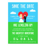 Adorably Nerdy 8-Bit Bride & Groom Save the Date Card