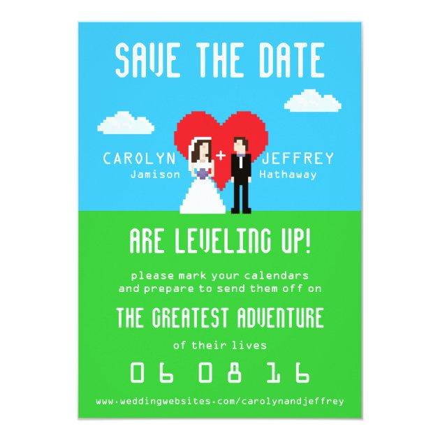 Adorably Nerdy 8 Bit Bride Amp Groom Save The Dates Card Zazzle
