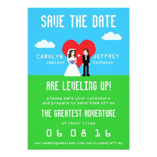 Adorably Nerdy 8-Bit Save the Date Invite