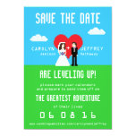 "Adorably Nerdy 8-Bit Save the Date 5"" X 7"" Invitation Card"