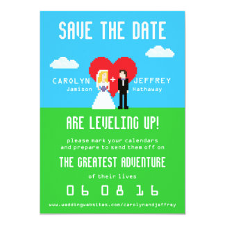 Adorably Nerdy 8-Bit Save the Date Personalized Invites