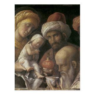 Adoración de Andrea Mantegna de unos de los reyes Postal