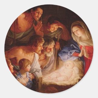 Adoración-de-bebé-Jesús-por-pastores-reni Pegatina Redonda