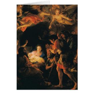 Adoración de los ángeles de los pastores w tarjeta pequeña