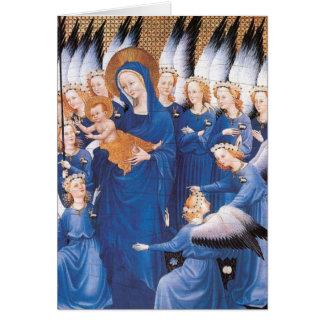 Adoración de los ángeles tarjeta pequeña