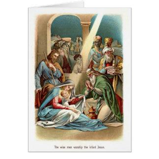 Adoración de los hombres sabios tarjeta de felicitación
