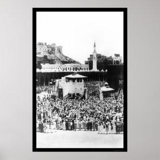 Adoración de los musulmanes en La Meca Arabia en 1 Póster