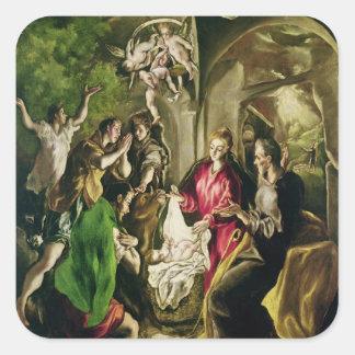 Adoración de los pastores, 1603-05 pegatina cuadrada