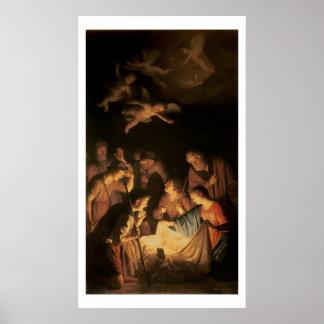 Adoración de los pastores, 1617 (aceite en lona) posters