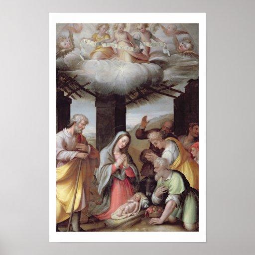 Adoración de los pastores, c.1500 (tempera en la c póster