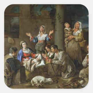 Adoración de los pastores, c.1659 pegatina cuadrada