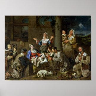 Adoración de los pastores, c.1659 póster