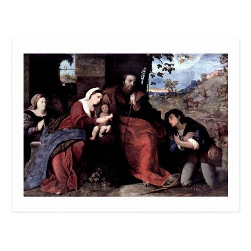 Adoración de los pastores con un donante tarjetas postales