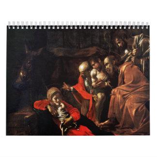 Adoración de los pastores por Caravaggio (1609) Calendarios