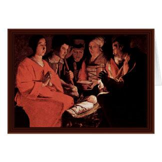 Adoración de los pastores, por Georges de La Tour Tarjeta De Felicitación