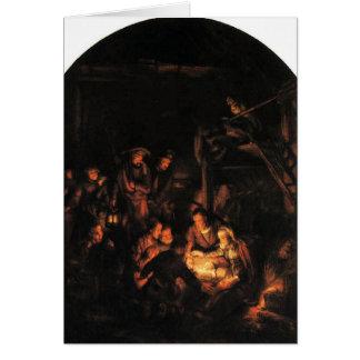 Adoración de los pastores - Rembrandt 1640. Tarjeta Pequeña