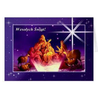 Adoración de los pastores. Tarjeta de Navidad pola