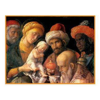 Adoración de Mantegna de unos de los reyes magos Postales
