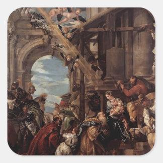 Adoración de Pablo Veronese- de unos de los reyes Colcomanias Cuadradases