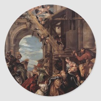 Adoración de Pablo Veronese- de unos de los reyes Pegatina Redonda