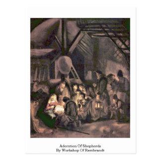 Adoración de pastores por el taller de Rembrandt Tarjetas Postales