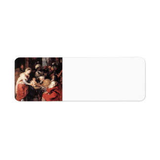 Adoración de Peter Paul Rubens- de unos de los rey Etiqueta De Remite