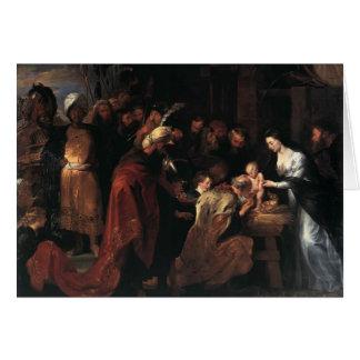 Adoración de Peter Paul Rubens- de unos de los rey Tarjeton
