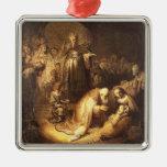 Adoración de Rembrandt del ornamento del navidad Adorno Navideño Cuadrado De Metal